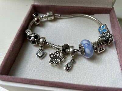 AU116.32 • Buy Pandora Bracelet With 10 Charms Authentic Sterling - Silver 425 Ale
