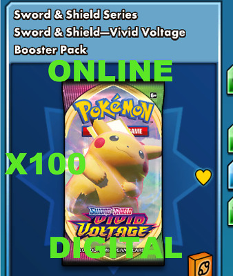 $13.99 • Buy 100 Vivid Voltage Booster Pack Codes Pokemon TCG Online IN GAME
