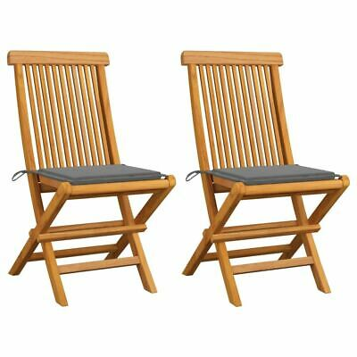 AU158.95 • Buy Solid Teak Wood Patio Chairs With Cushions 2 Pcs Foldable Seat Outdoor Furniture