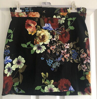 £7.95 • Buy River Island Black/white/red/blue/yellow Floral Gathered Waist Skirt Size 16