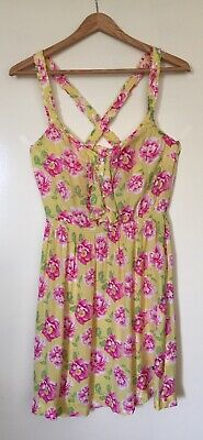 £9.01 • Buy WOMENS 'ABERCROMBIE & FITCH' Size M YELLOW PINK FLORAL CROSSBACK RUFFLE DRESS