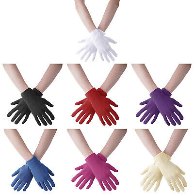 £7.02 • Buy Ladies Short Wrist Gloves Women Stretchy Satin Mittens For Party Prom Wedding