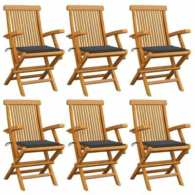 AU492.95 • Buy Folding Garden Chairs 6 Pcs Solid Teak Wood Outdoor Seat With Anthracite Cushion