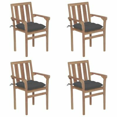 AU510.95 • Buy Stackable Garden Chairs 4 Pcs Solid Teak Wood Stylish Patio Seat With Cushions