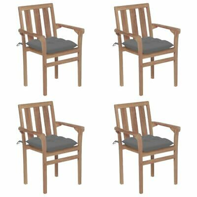 AU510.95 • Buy Wooden Outdoor Chair Set With Cushions Stacking Garden Armchair 4 Pcs Furniture
