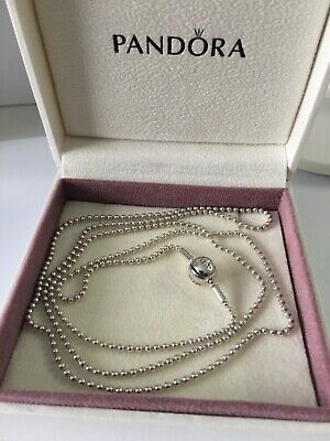AU120 • Buy Authentic Pandora ESSENCE BEADED 80cm Sterling Silver Charm Necklace Chain RARE