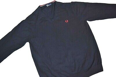 £4.20 • Buy FRED PERRY Merino Wool Navy Blue Long Sleeve Knitted Jumper FRED PERRY Size XL