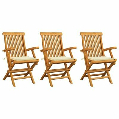 AU270.95 • Buy 3 Pcs Garden Armchair Set Solid Teak Wood Foldable Chairs With Cream Cushions