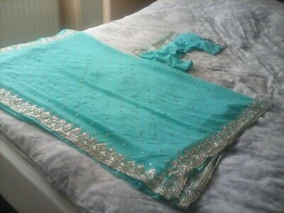 £22 • Buy Ladies Georgette Aqua Blue With Silver Embroidery Saree Stitched Blouse Size S