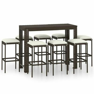 AU595.95 • Buy Outdoor Bar Table And Stools With Cushions Poly Rattan Patio Furniture Set 9 Pcs