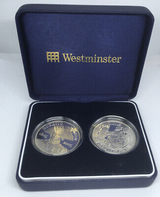 £30 • Buy Westminster 2005 Nelson & Trafalgar Silver Proof 2 Crown Set With COA