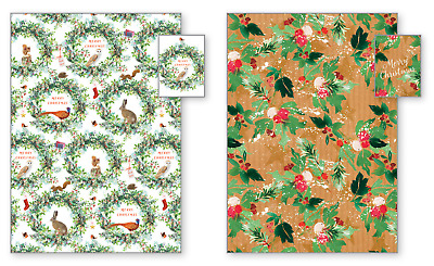 £4.49 • Buy Winter Floral Animal Christmas Wrapping Paper 4 Sheets And 8 Tags - 50cm X 70cm