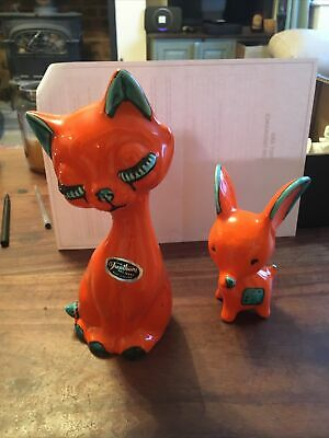 £30 • Buy Trentham Art Ware Collectable 60s Art Deco Orange Cat And Mouse