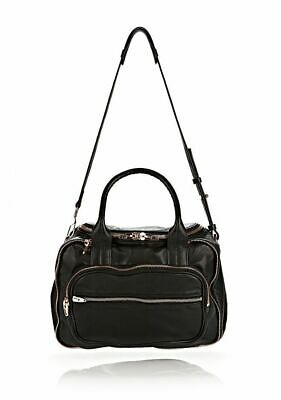AU299 • Buy Alexander Wang Eugene Satchel Bag Black Leather With Silver Zippers