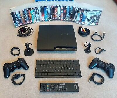 £135 • Buy Sony PlayStation PS3 Slim Games Console Video Arcade Blu-ray DVD Player + Extras