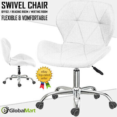AU18.85 • Buy Office Chair Cushioned Lift Swivel Small Adjustable Computer Desk Chrome Legs UK