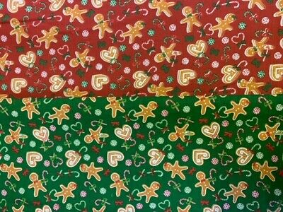 £3 • Buy Christmas Polycotton Fabric Ginger Bread Men Candy Canes Material Advent Festive