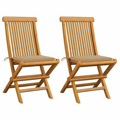 AU155.95 • Buy Wooden Armless Chairs 2 Pcs Foldable Outdoor Patio Seat With Cushions Furniture