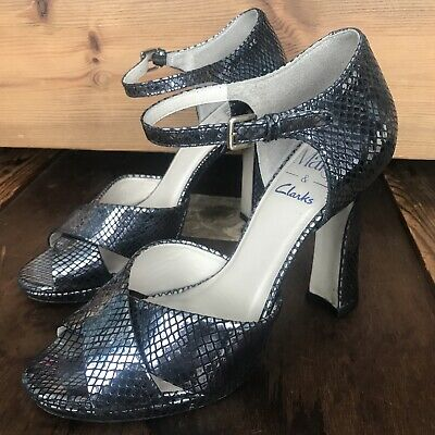 £16.99 • Buy Mary Portas & Clarks Snakeskin Effect  Silver Strappy High Heel Sandals Size 4.5