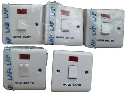 £4.50 • Buy  Lap 20amp Double Pole Switch Marked Water Heater With Neon   White