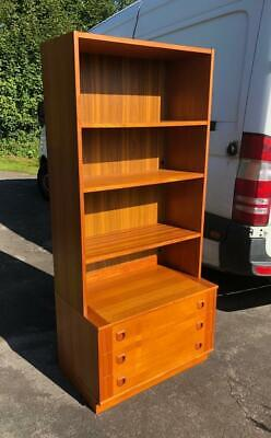 £145 • Buy Mid Century Danish Teak Finish Open Bookcase With 3 Drawers G Plan Style Cabinet