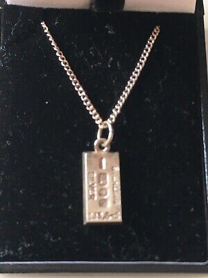 £27.50 • Buy Solid Silver Ingot Pendant And 18 Inch Silver Chain 6.8 Grams