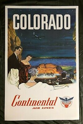 $3975 • Buy Original Travel Poster Continental Airlines Colorado Red Rocks Music Concert