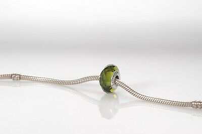 AU10 • Buy Pandora Green Faceted Charm In Murano Glass With 925 Ale Silver Core (2937)