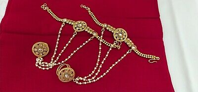 £14.66 • Buy Indian Jewelry Hath Punja Bollywood Ethnic Gold Plated Bracelet With Rings