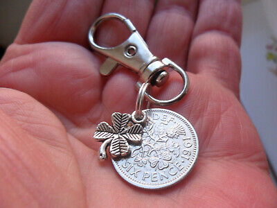 £5.99 • Buy 1961 Lucky Sixpence Bag Charm 60th Birthday Gift For A Woman With Clover Charm