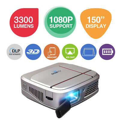 £217.15 • Buy 3300lms Full HD 3D DLP WiFi Projector Airplay For IPhone Home Cinema HDMI USB UK