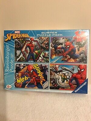 £9.50 • Buy New! Marvel Spiderman Jigsaw Bumper Puzzle Pack 4 X 100 Ravensburger Quality