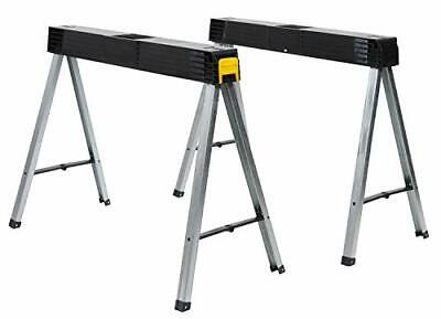 AU145.30 • Buy Folding Work Bench Saw Horse Twin Pack, Heavy Duty Metal Leg With Side