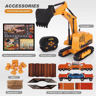 £15.49 • Buy Remote Control 5 Function Excavator RC Bulldozer Truck Toy Digger Car Buggy Toy