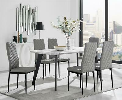 £439.99 • Buy Andria Contemporary Black Leg Marble Effect Dining Table And  6 Milan Black Leg