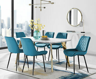 £679.99 • Buy Andria Elegant Gold Leg Marble Effect Dining Table And 6 Pesaro Black Leg Chairs