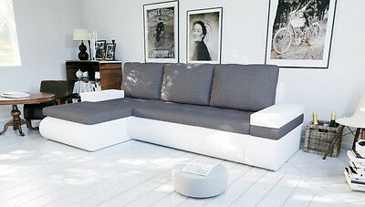 £369 • Buy Corner Sofa Bed Storage Left Right Grey Fabric White Faux Leather Spring.