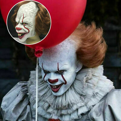 £11.52 • Buy Pennywise IT Clown Mask Games Latex Scary Adult Halloween Party-PropsCostume UK
