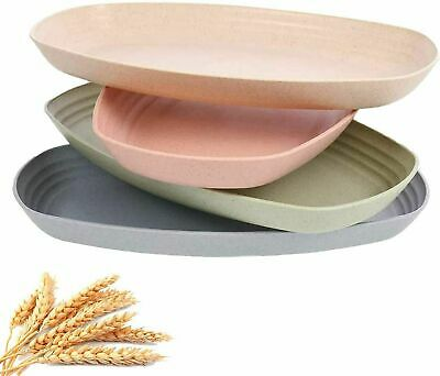 £7.99 • Buy Wheat Straw 4PK Oval Plates Unbreakable Lightweight Dinner Dishe For Snack Salad