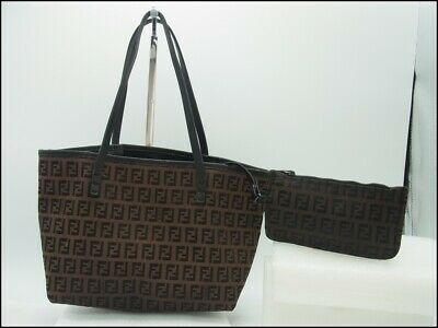 £188.53 • Buy Auth DBM01 Fendi Zucchino Tote Bag With Pouch Zucca Pattern From Japan