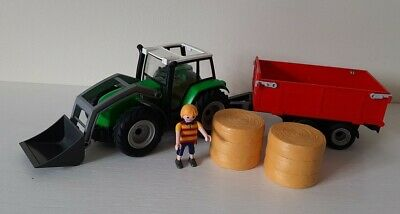 £5.50 • Buy Playmobil 6130 Large Tractor With Trailer, Hay Bales, Figure, Farm