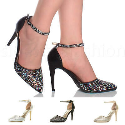 £14.99 • Buy Womens Ladies High Heel Diamante Party Evening Ankle Strap Pointy Shoes Size