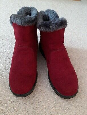 £8 • Buy Ladies Ankle Boots Size 4  Burgundy Faux Suede Fur Lined