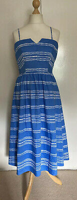 AU18.39 • Buy John Lewis Sylvia Stripe Blue And White Sundress  Size 14 New With Tags ☀️