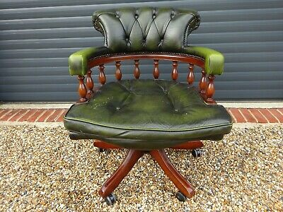 £88 • Buy Vintage Green Leather Chesterfield Captain Chair / Office Chair / Swivel Chair