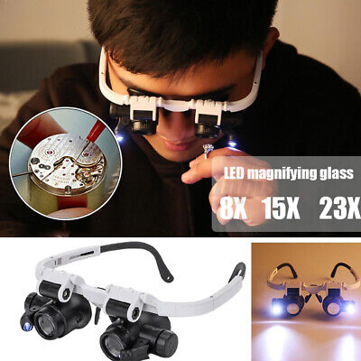 £7.27 • Buy 23X Lightweight Head Magnifier Glasses Adjustable With 2 LEDs Light Magnifying