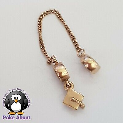 AU550 • Buy Pandora Gold Graduation Cap Hat Charm 750273 Made In To A Bracelet Safety Chain