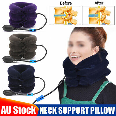 AU15.95 • Buy New Air Inflatable Neck Pillow Head Cervical Traction Device Support Stretcher