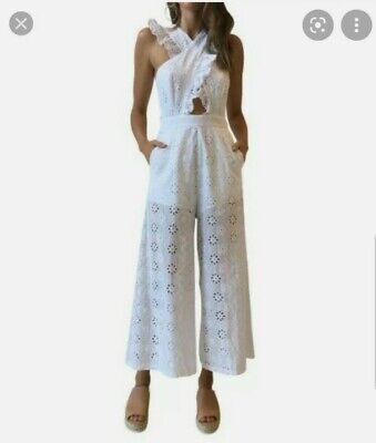 AU200 • Buy ALICE MCCALL Limonada Jumpsuit  Embroidery White Size 8 RRP $410