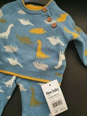 £8 • Buy 2PCS BNWT Mothercare Baby Boy Dinosaur Knitted Outfit Set Newborn Twins RRP£17